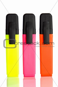 Three vertical fluorescent markers
