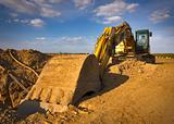 Dirty yellow excavator