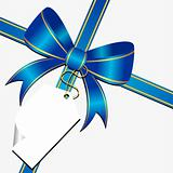 Blue bow with tag