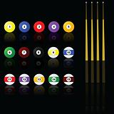 Snooker (pool) balls and sticks
