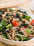 Green Tea and Soba Noodle Salad with Wakame Seaweed