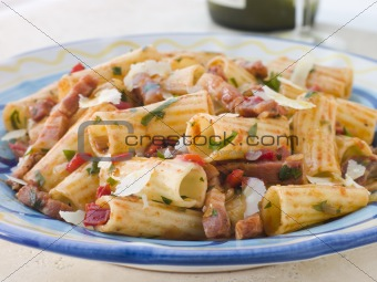 Rigatoni Pasta with a Tomato and Pancetta Sauce
