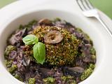 Herb Crusted Portabello Mushroom with Red Wine Risotto and Pesto
