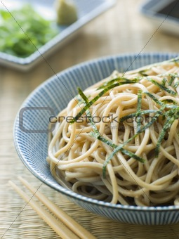 Bowl of Chilled Soba Noodles with Wasabi