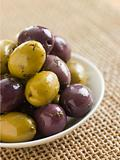 Dish of marinated Olives