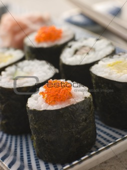Small Rolled Sushi on a Plate