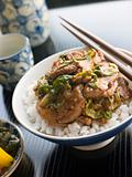 Wok Fried Pork and Ginger Cabbage on Rice