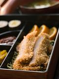 Tonkatsu Box and Miso Soup with Pickles and Sushi