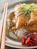 Plated Tonkatsu with Vinegar Rice, Curry Sauce and Pickled red R