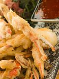 Tempura of Soft Shell Crab with Chili Sauce and Seaweed salad