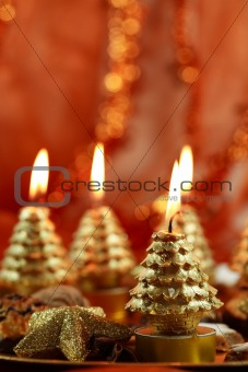 Beautiful Christmas still life with candles