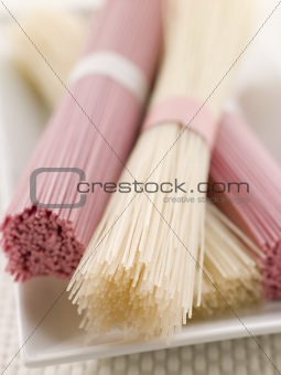 Clear and Pink Dried somen Noodles