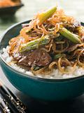 Sweet Soy Beef Fillet with Shirataki Noodles on Rice