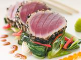 Seared Yellow Fin Tuna with Sesame Seeds Sweet Fried pac Choi an
