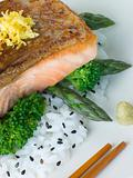 Citrus Salmon Fillet on Rice Steamed Vegetables with Sesame and 