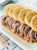 Fried Silken Tofu on Noodle Salad