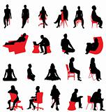 silhouttes people sitting