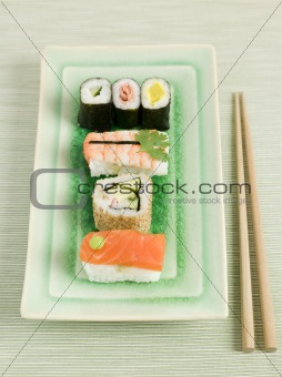 Plated Sushi with Chopsticks