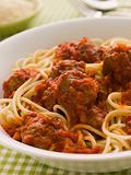 Bowl of Spaghetti Meatballs in Tomato Sauce