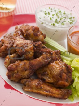 Spicy Buffalo Wings with Blue Cheese Dip Celery and Hot Chilli S