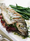 Whole River Trout with Jamon and Herb Butter
