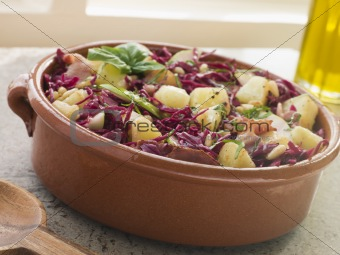 Potato Bacon and Pickled Red Cabbage Salad