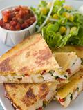 Quesadillas with Cajun Chicken Cheese Tomato Salsa and corn Sala