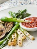 Griddled Spring Onions and Romesca Sauce- La Colcotada