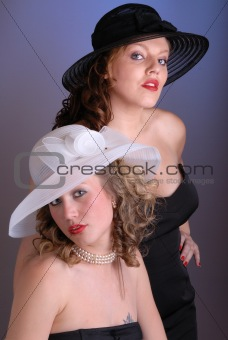 cute young ladies in hats