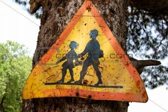 old school warning sign
