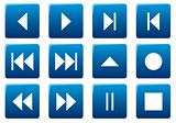 Media square icons set.