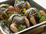 Quails Roasted in Vine Leaves with Lemon and Thyme