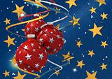 three christmas ball  on starry background