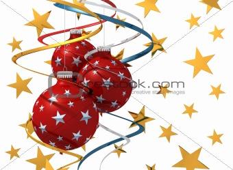 three christmas ball and colored bow