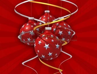 Four christmas ball  and bow