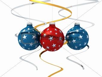 Three starry christmas ball