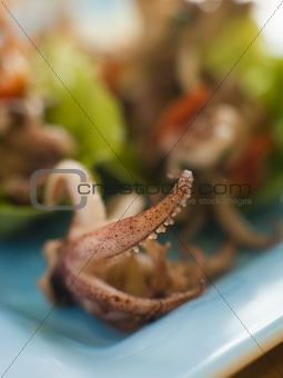 Baby Squid and Roasted Chili Salad