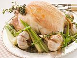 40 Clove of Garlic Roasted Chicken with Baby Spring Vegetables