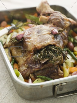 Slow Roasted Shoulder of Lamb Stuffed with Herbs de Provence Roa