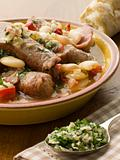 Bowl of Toulouse Sausage and Butter Bean Ragout with Persillade