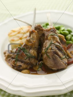 Grilled Lamb Cutlets Chasseur sauce Pomme Anna and Baby Broad be