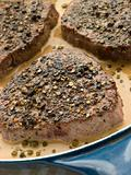 Filet Mignon au Poirve' in a saut pan