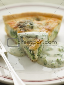 Broccoli and Roquefort Quiche with Broccoli sauce