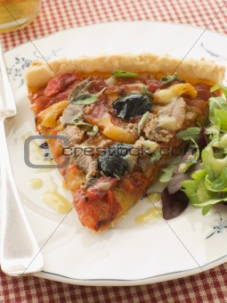 Slice of Provencale Tart with Dressed salad