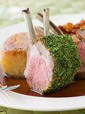Rack of Lamb with a Herb Crust Potato Fondant and Ratatouille