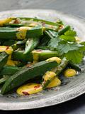 Fried Okra with Yoghurt and Coriander Curry