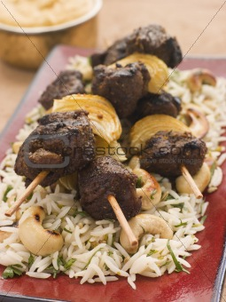Cardamom Lamb Boti with Cashew Rice