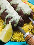Lamb Mint and Garlic Sheesh Kebab with Pilau Rice and Raita