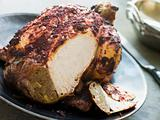 Roast Tandoori Chicken stuffed with Keema carved