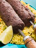 Lamb Mint and Garlic Sheesh Kebab with Pilau Rice